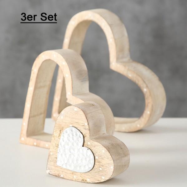 Aufsteller Deko Herzen Holz 3er Set, 8207900