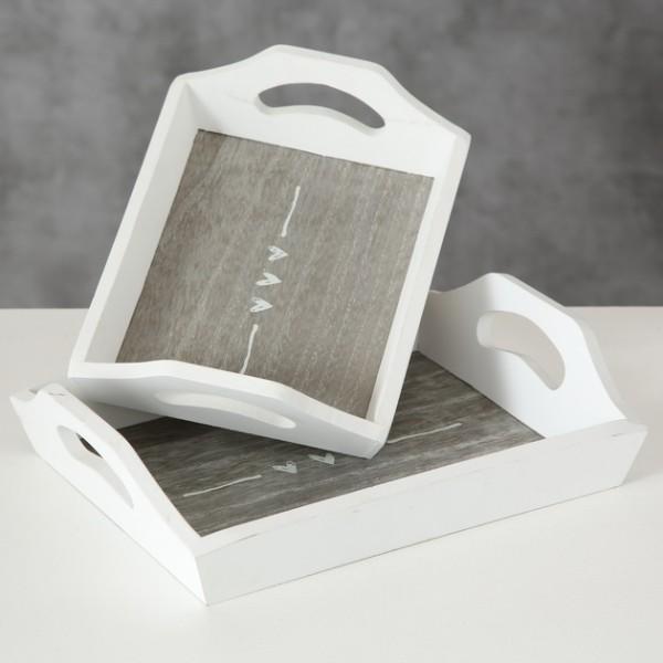 Deko Tablett weiß grau mit Herz Muster, 3702700