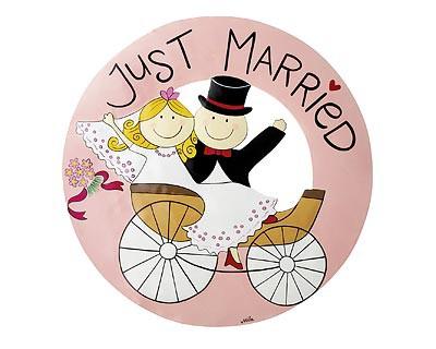 Mila - Design with a smile, Mila Willkommensschild Just Married 2921, Hochzeit, Türschild, Hochzeitsdekoration, rosa, weiß, schwarz, Hochzeitspaar