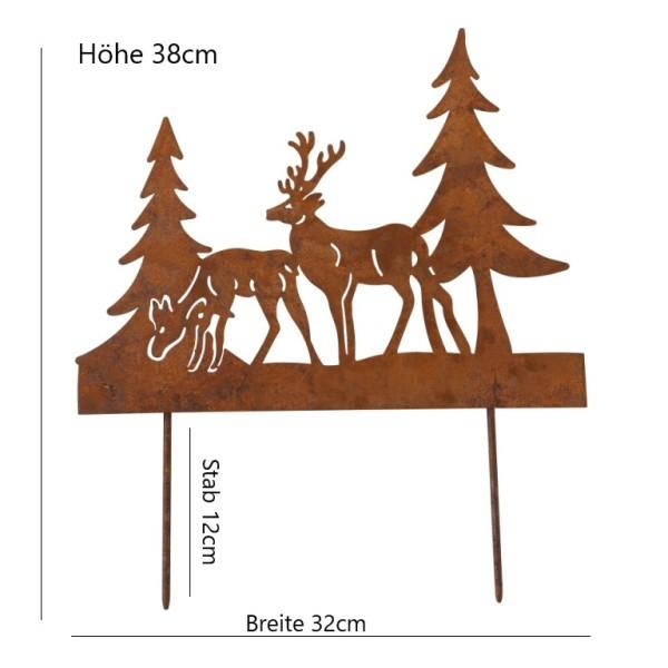 Gartenstecker Hirsch Reh Baum rost braun - Pflanztopfstecker, 4020607686052, 1017878