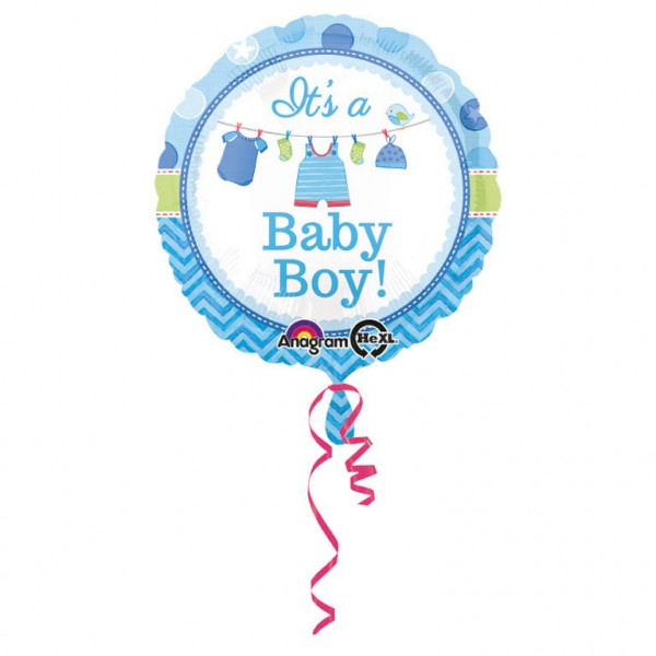 Folienballon, Heliumballon Geburt It´s a Baby Boy blau