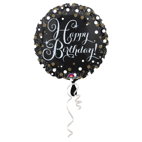 Heliumballon Folienballon Ballon mit Aufdruck Happy Birthday zum Geburtstag - schwarzer Ballon mit glitzer