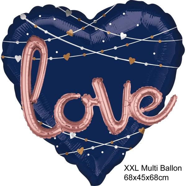 XXL Multi Heliumballon Folienballon Herz blau mit Schriftzug LOVE - 1