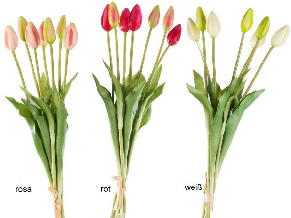 Tulpenbündel mit 7 Knospen, künstlicher Tulpenstrauß rosa, rot, weiß, 671158, 4025809671158