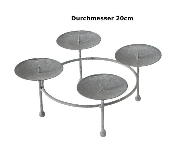 Kerzenhalter für Adventskranz rund aus Metall grau - D 20cm, Kerzenkranz, 2003225, 4020607767591