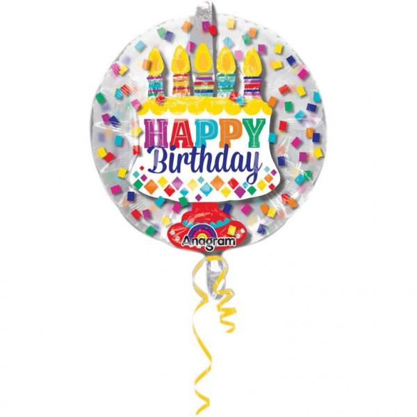 Ballon in Ballon Happy Birthday, Geburtstag Folienballon, Heliumballon, Luftballon