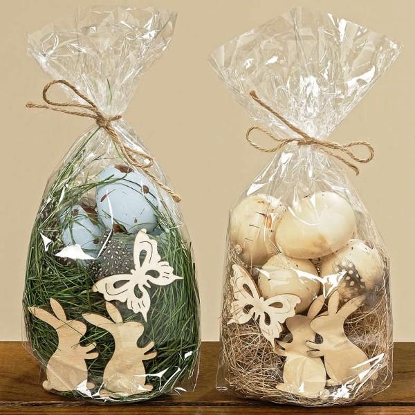 Streudeko mit Ostergras, Federn, Eiern, Hasen und ein Schmetterling grün natur, 1004538, 4020607484375