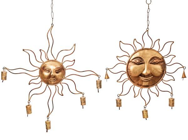 Metall Windspiel Sonne gold mit Glöckchen 2er Set, 4020607448346, 6203400