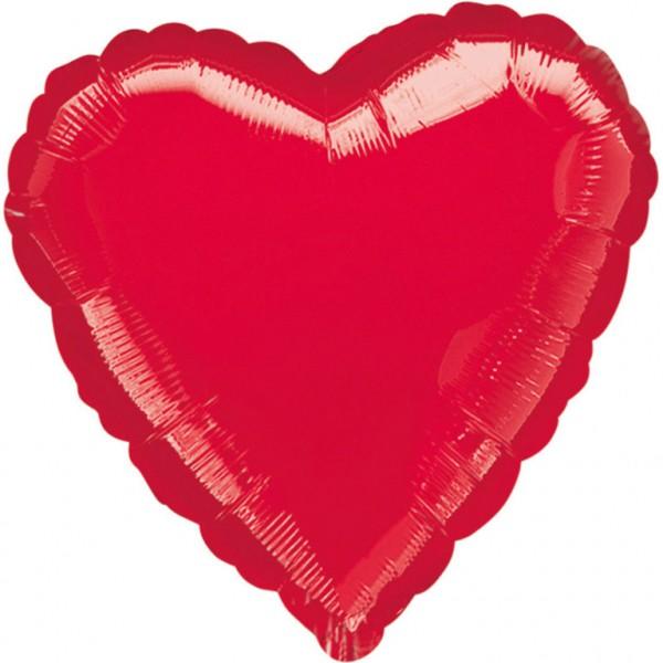 Heliumballon Folienballon Herz rot metallic, Herz-Ballon