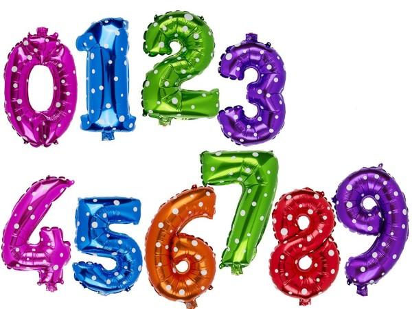 Folienballon Luftballons Zahlen bunt mit weißen Punkten 0 bis 9