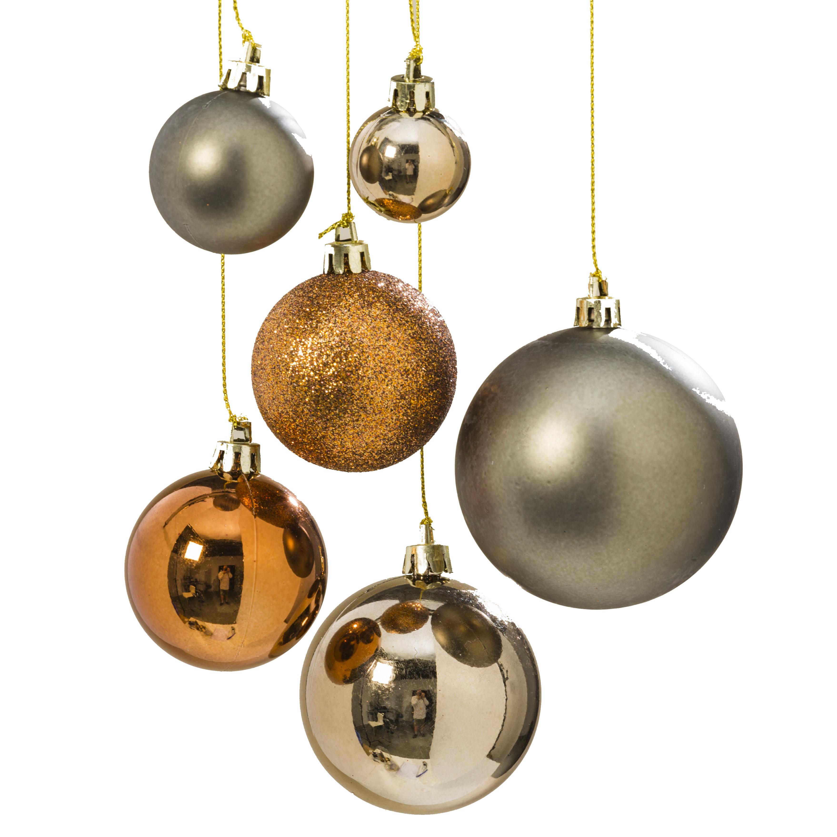 Christbaumkugeln Kupfer.Hanger Kugel Set Braun Gold 50tlg