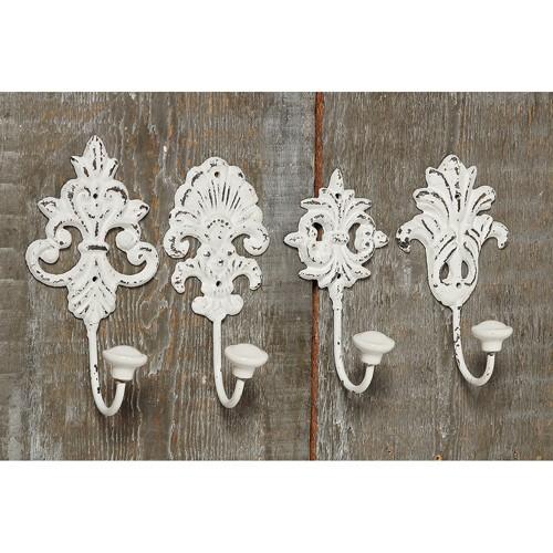 Garderobenhaken 4er Set alt weiß, Wandhaken Eisen mit Ornamenten, 4429000, 4020606901880
