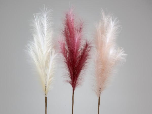 Kunst Federzweig weiß, rot oder rosa - H110cm, 674098, 4025809008114