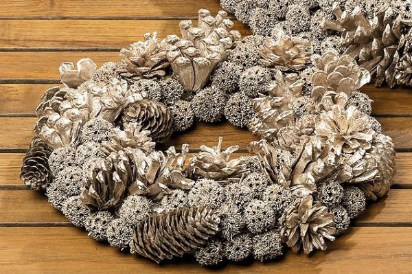Weihnachtskranz, Deko Kranz Zapfen D32cm, Türkranz, Tischkranz, 7524900, 4020607442733