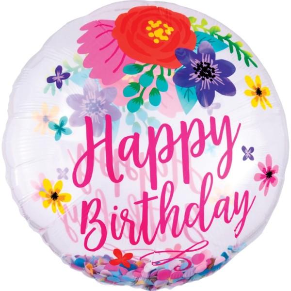 Konfetti Ballon Happy Birthday, Geburtstag Folienballon, Heliumballon, Luftballon