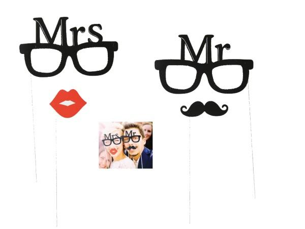 Fotorequisiten, Foto Props, Fotoaccessoires, Foto Verkleidung 'Mr&Mrs' 4tlg Hochzeit Party Photo Schnurrbart Brille Kussmund, 4029811346035, 181065