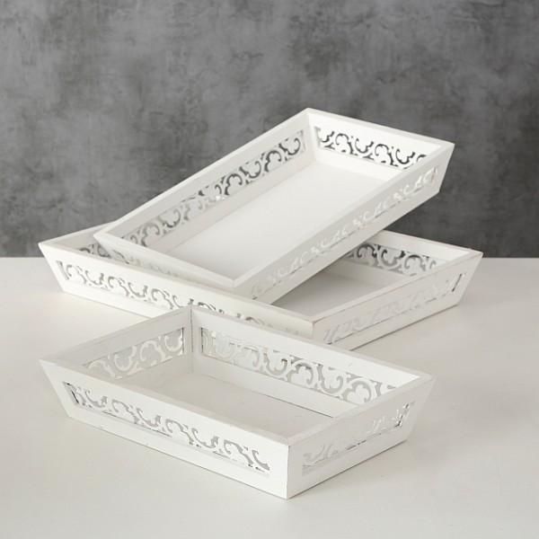 Holz Deko Tablett weiß Vintage Shappy Look Landhaus Stil, 4020606498496, 7806600