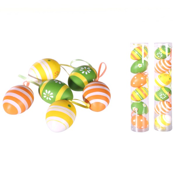Kunststoff Ostereier, orange, gelb, grün, Osterdekoration, Eier bunt,100846, 4029811325610