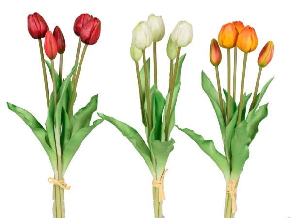 Kunstblume Tulpenbündel rot, weiß, orange gelb, 671103, 4025809671103