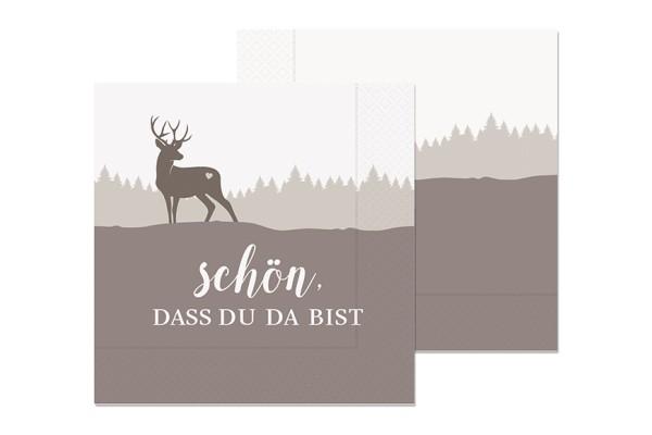 """Papier Servietten mit Spruch: """"Schön, dass Du da bist"""" Gipfel Gruß, Motiv Hirsch, 130831, 4027268279807"""