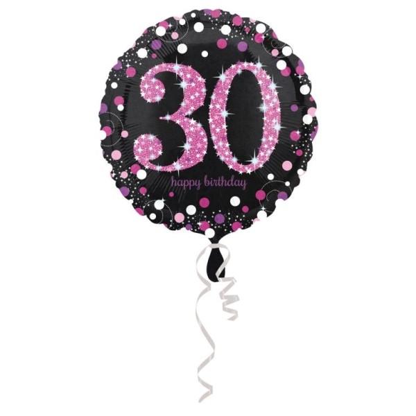 Heliumballon Folienballon zum 30. Geburtstag - schwarzer Ballon mit pinker30