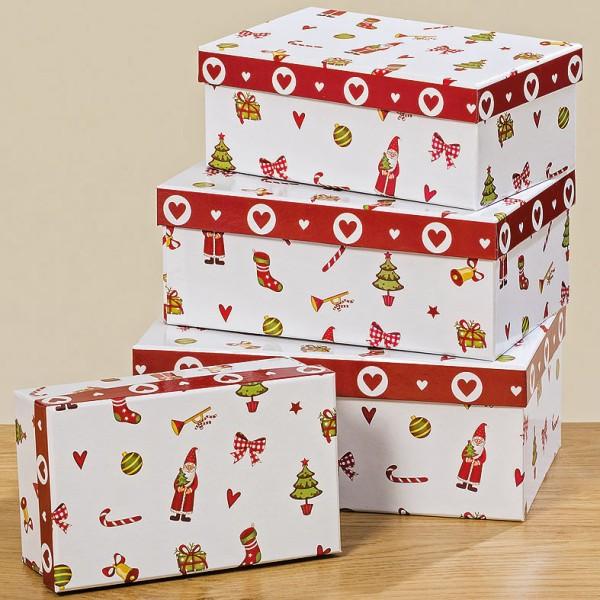 "Geschenkkartons / Weihnachtskartonage ""Santa"" 4er Set - L17-23cm, 1007850, Boltze"