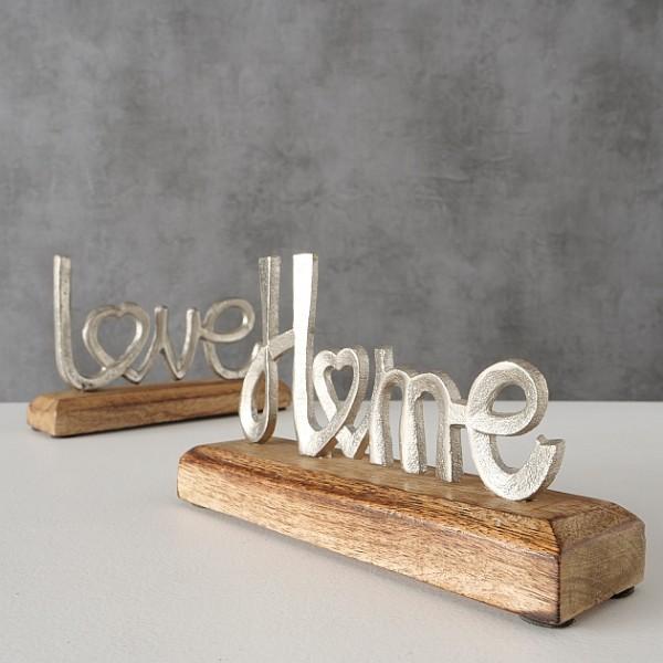 """Aufsteller Schriftzug """"Home / Love"""" silber, 2005696, 4020607801370"""