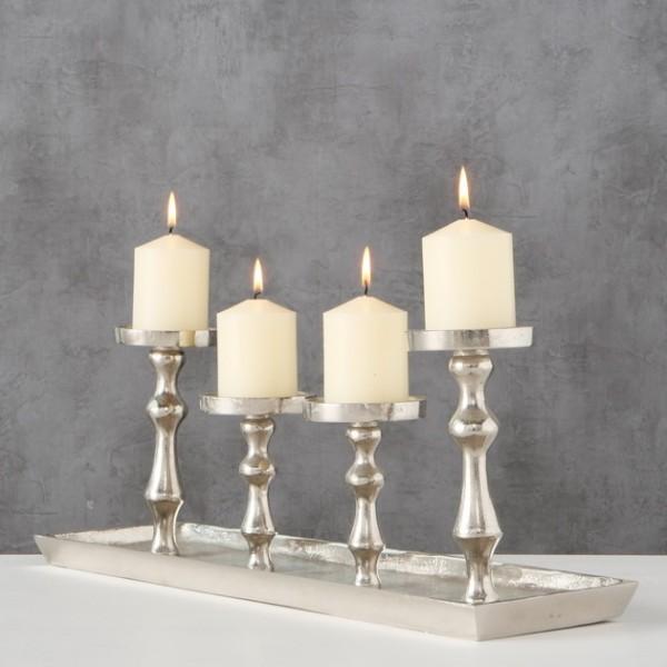 Kerzentablett siber für 4 Kerzen, Kerzenleuchterschale, 1008454, 4020607545335
