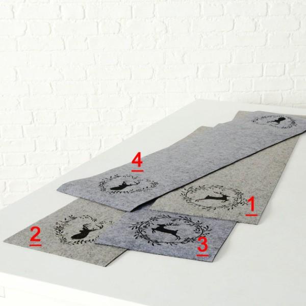 Filz Tischläufer Hirsch / Hirschkopf Geweih grau beige 120x30cm