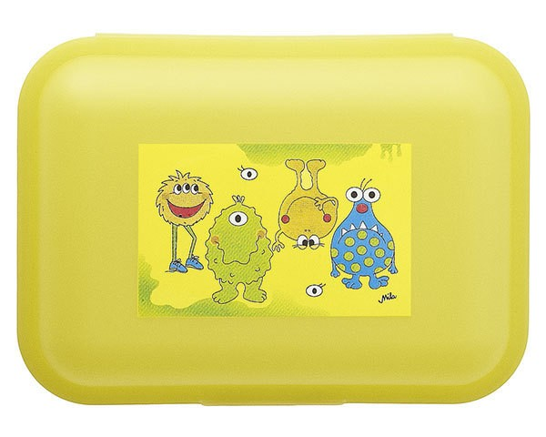 Mila Brotdose Mimo Monster 24032, Butterbrotdose, Lunchbox, Lunchboxen, aus Kunststoff, Mila Design with a smile, gelb