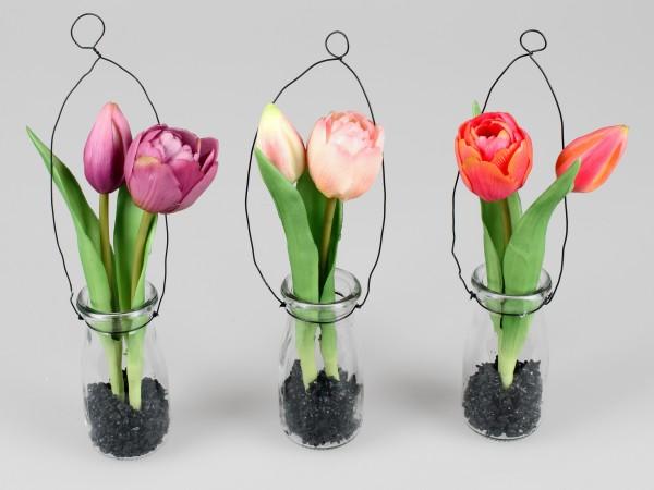 Tulpen im Glas zum hängen - H20cm - real touch Design