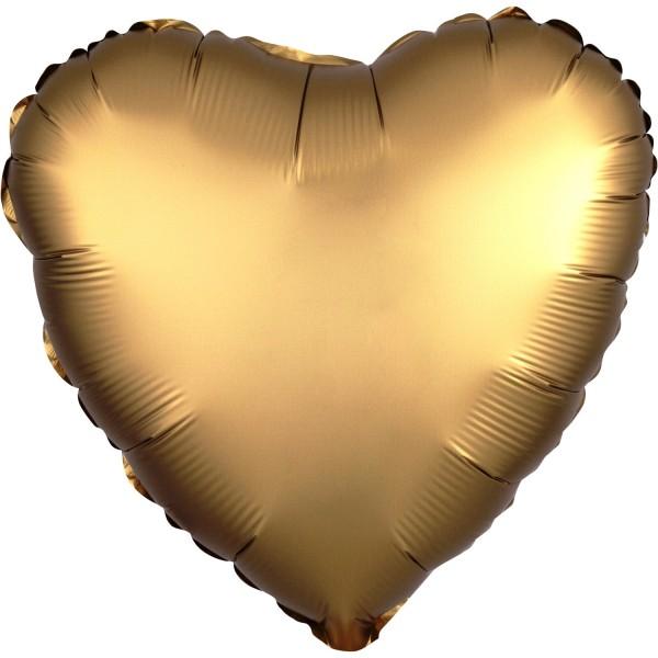 """Heliumballon Folienballon Herz  gold matt """"Satin Luxe Gold Sateen"""", Herz-Ballon"""