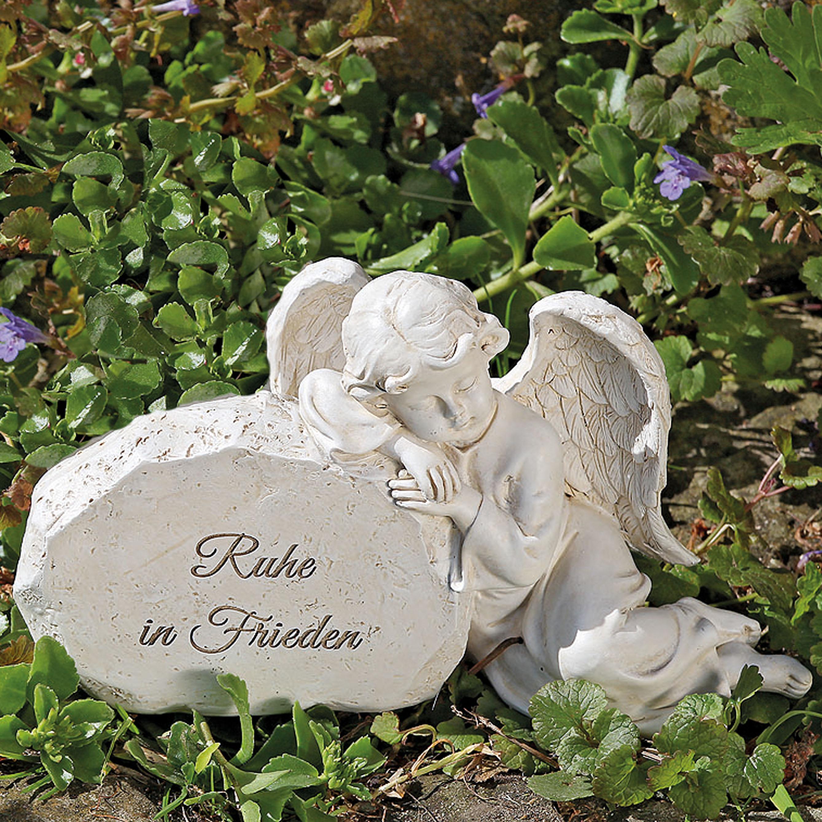 Trauerfigur Engel mit Spruch \