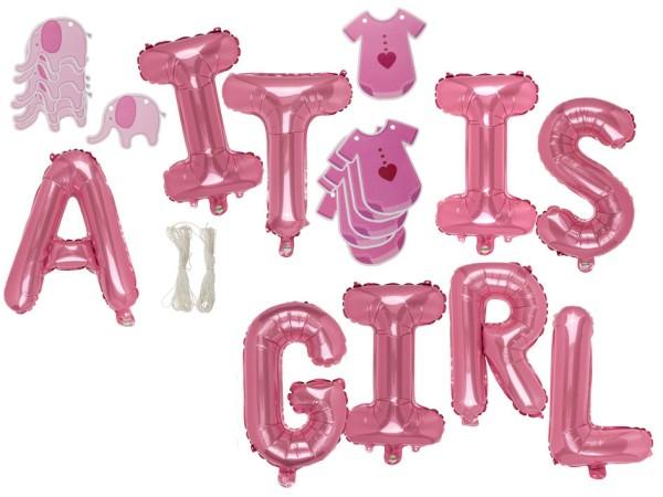 """Folienballon Set rosa """"It IS A GIRL"""" Luftballon zur Geburt Mädchen"""