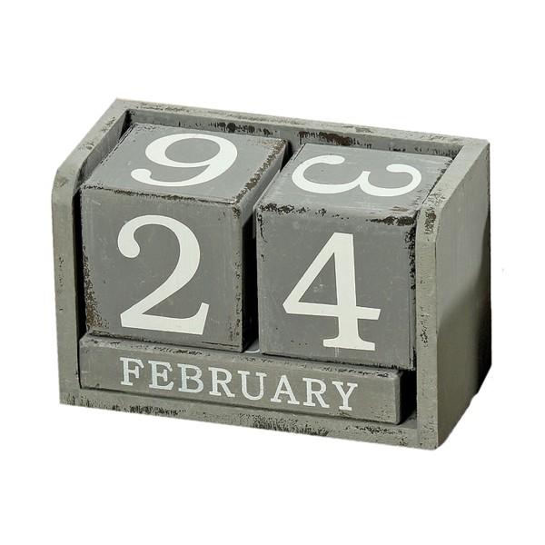 Hellgrau Weiß Und Holz Sind Erfrischend Natürlich: Holz Würfel Kalender Grau Oder Weiß