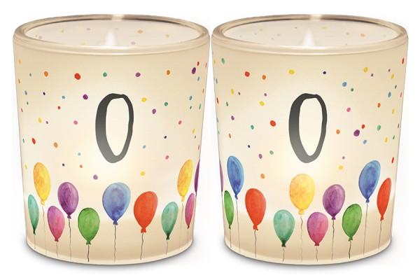 Windlicht Kerzenglas mit Zahl 0