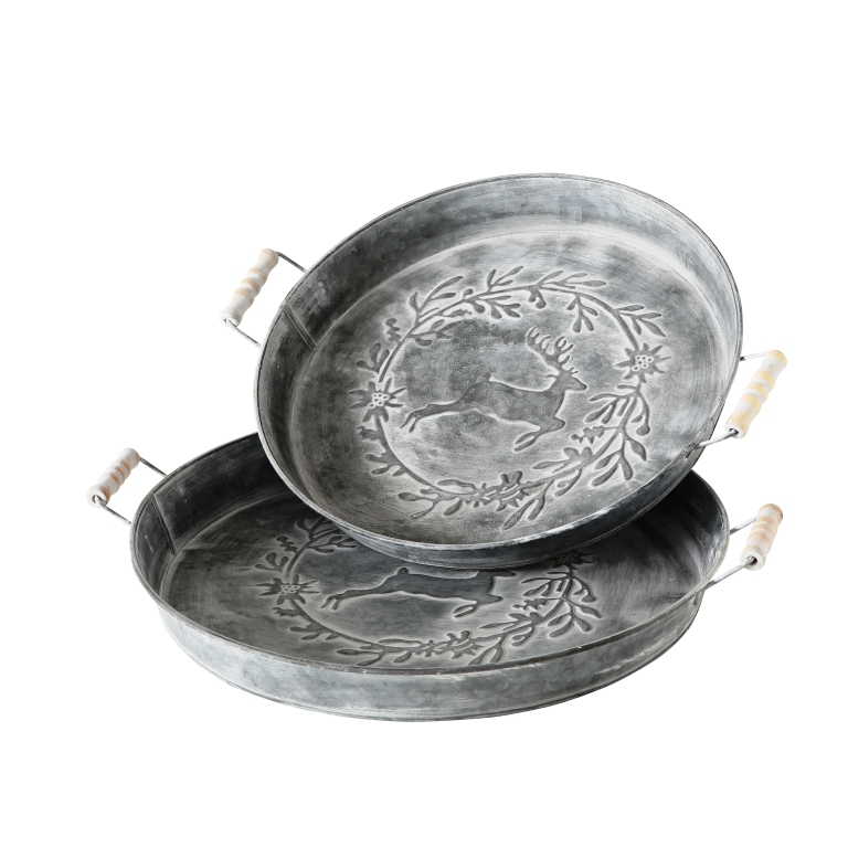 Dekotablett aus Zink Tablett Metalltablett Kerzenschale Landhaus Weihanchtsdeko