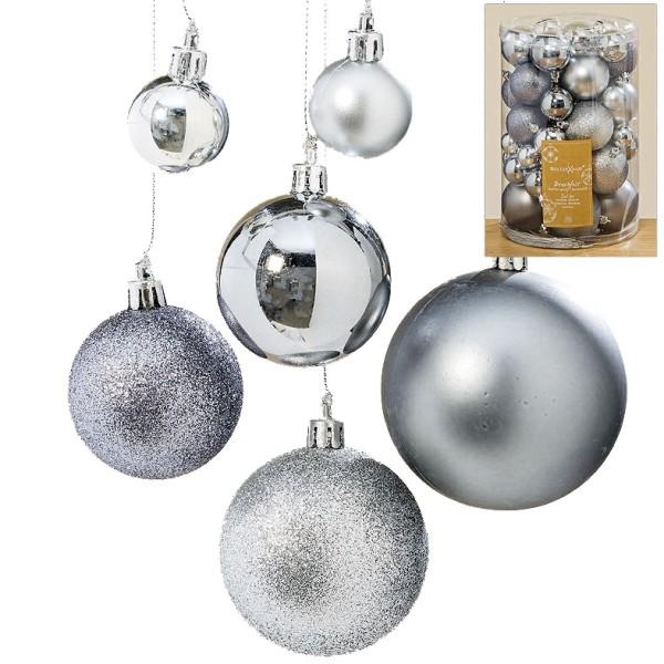 Christbaumkugeln Grau.Hanger Kugel Set Silber Grau 50tlg