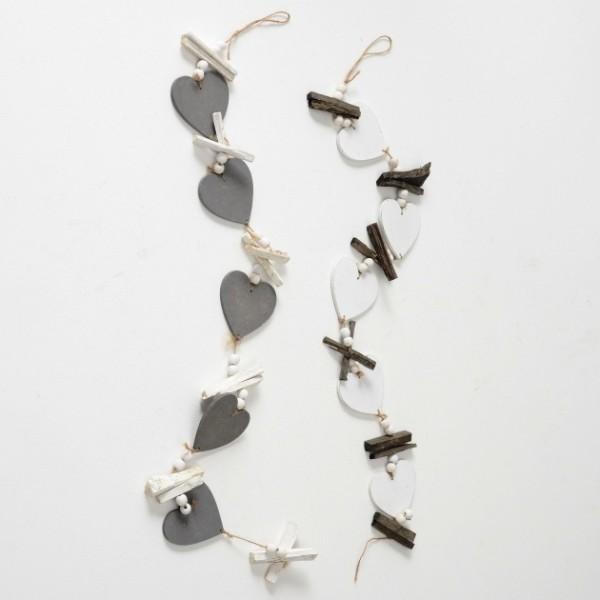 Deko Girlande Herz mit Treibholz weiß grau