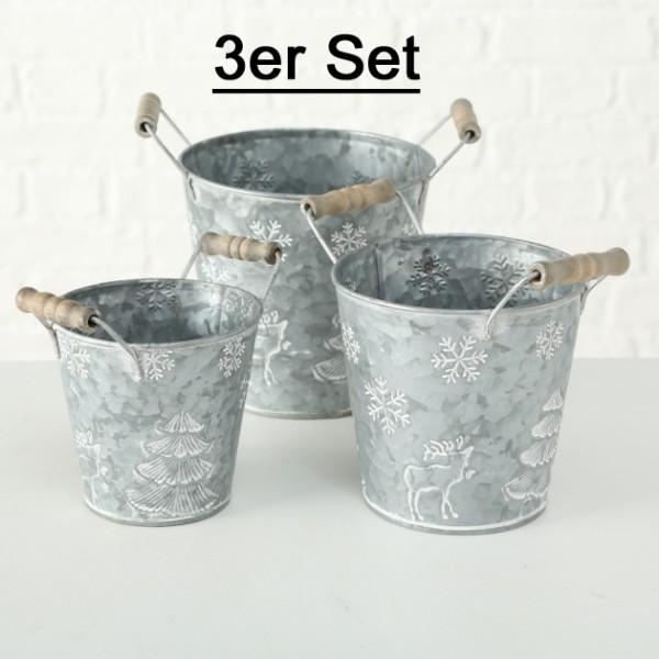 Pflanztopf Deko Eimer Zink grau weiß mit Winterlandschaft 3er Set Pflanztopfeimer, 1017779, 4020607685536