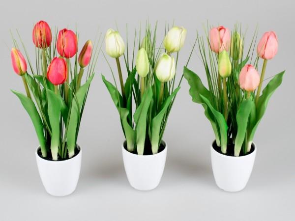 Künstliche Tulpen im Topf weiß mit Gräsern, Kunstblumen rosa, weiß, rot, 671462, 4025809671462