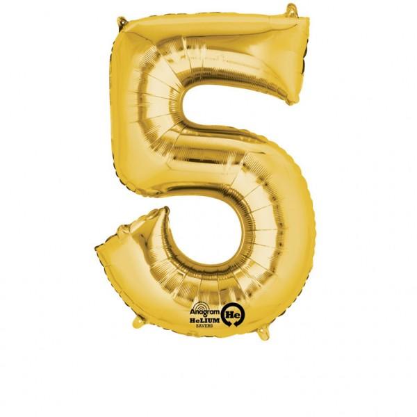 XXL Folienballon Zahl 5 gold, Heliumballon, Zahlenballon, 026635282529