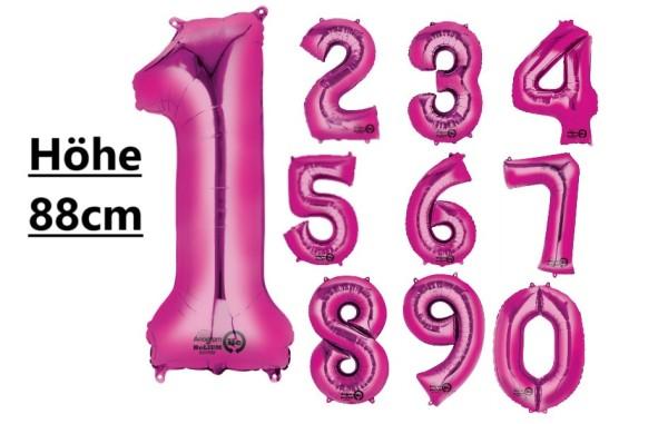 XXL Heliumballon Zahlenballon Folienballon pink 0-9