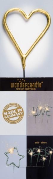 Wondercandle Wunderkerze gold Herz Form