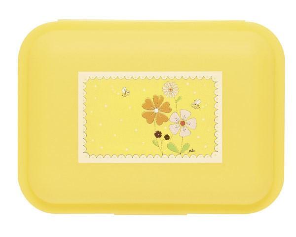 Mila Brotdose Landblumen 24022, Butterbrotdose, Lunchbox, Lunchboxen, aus Kunststoff, Mila Design with a smile, gelb