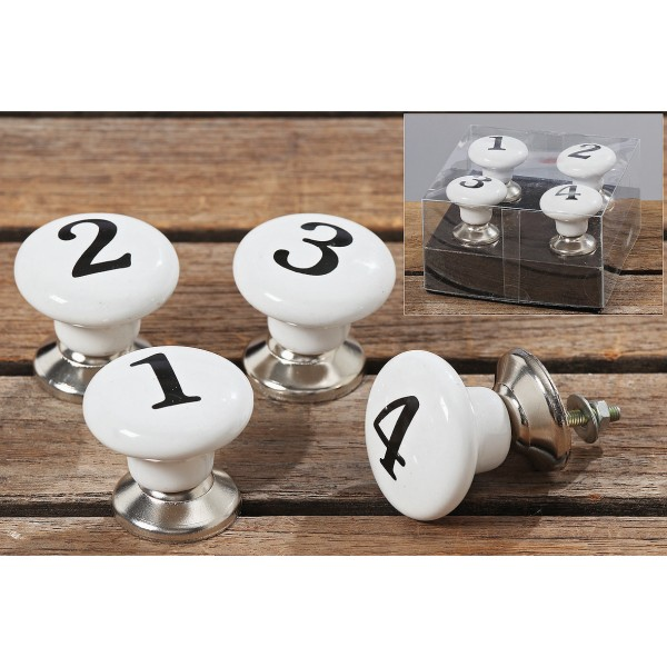 Möbelknauf 4er Set Numbers, Türknauf, Schrankknopf, Schrankgriff, Möbelknöpfe weiß, schwarz, 4117600 Boltze