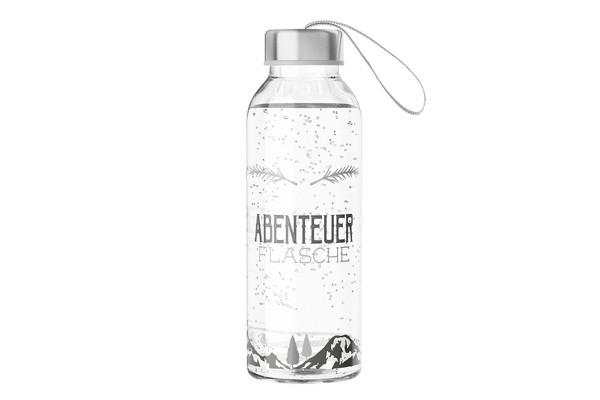 """Glas Trinkflasche Glasflasche mit Verschluss und Motiv / Spruch """"Abenteuer Flasche"""""""