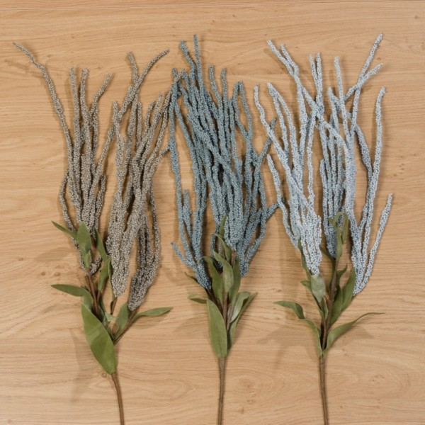 Deko Zweig Kunstblume Kunstpflanze blau beige