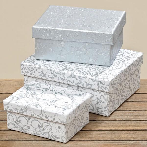 Hochfertige Geschenkkartons Weihnachtskartonage Geschenkboxen weiß silber