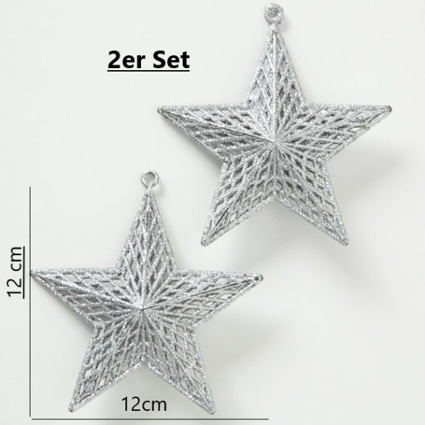Dekoanhänger Stern 2er Set silber, 1018050, 4020607687516